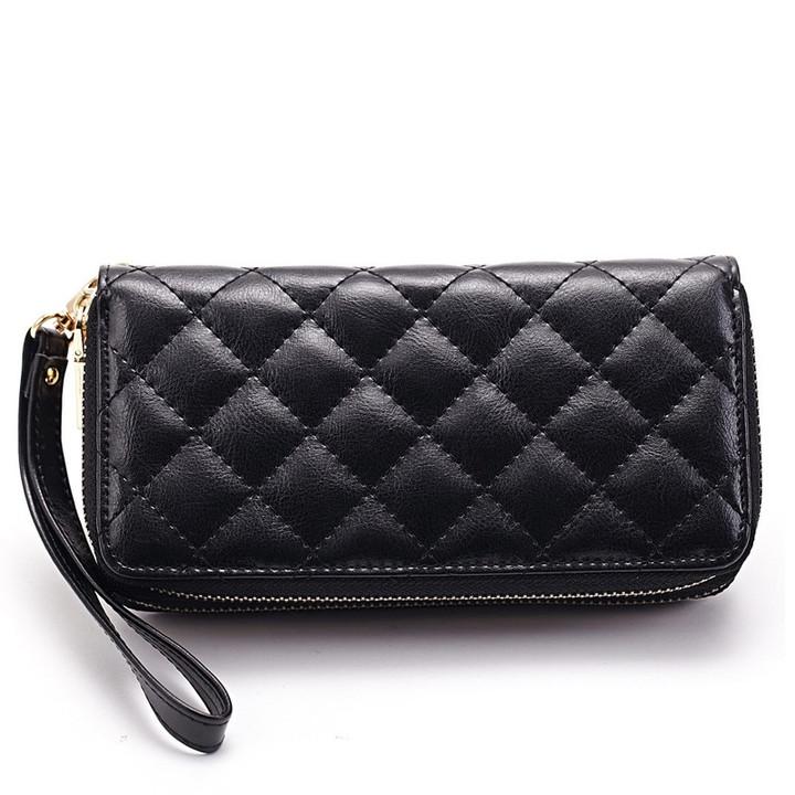 MONDAY Genuine Leather Long Wallet Women Purses with Strap Zipper Clutch Bag Rhomboids Pattern black 19*10*4cm