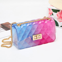 MONDAY Candy Color PVC Shoulder Bag Ladies Fashion Mini Chain Handbag with Diamond  Ladttice Pattern red blue small 17*6.5*10cm
