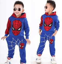 MONDAY 2 Pcs Boys Clothing Set Spiderman Boys Hoddies Kids Leisure Wear Long Sleeves Shirt and Pants blue 100 cotton