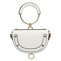 Retro Rivet Hand Saddle Bag Small Round Handbag 2019 New Fashion Shoulder Bag for Women white 21*13.5*5cm