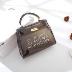 MONDAY Transparent PVC Jelly Bag Fashion Designer Shoulder Bag for Women Candy Color Handbag black big Big25*10*20cm small20*10*15cm