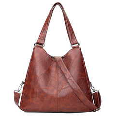 MONDAY Large Capacity Womens Handbag Totes Hobo Bag Soft Leather Shoulder Bag with Adjustable Strap brown 38*12*33cm