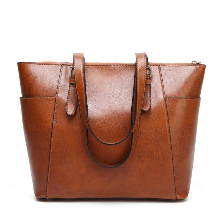 MONDAY Large Handbag Womens Tote Bag Quality PU Leather Shoulder Bag for Ladies Fashion Bags brown 35*13*31cm