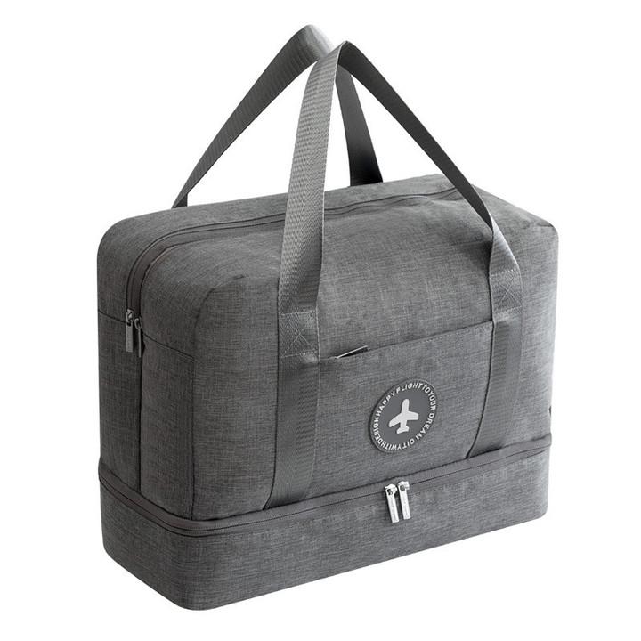 MONDAY Unisex Fashion Travel Bag Duffel Bag Wet and Dry Separation Carry Luggage Bag Gym Fitness Bag grey 39*30*18cm