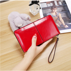 MONDAY Varnish PU Leather Long Wallet for Women 2019 with Wrist Strap Large Capacity Hasp Purse red 20.5*10.5*2.5cm