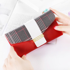 MONDAY PU Leather Long Wallet for Women Purse for Ladies Fashion Money Bag Multi-function Clutch red 19*9*3cm