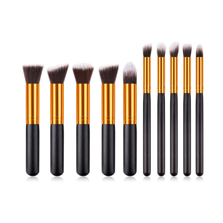 MONDAY 10Pcs Makeup Brushes Set Powder Foundation Blush Blending Eye Shadow Cosmetic Brush Kit 10pcs/set black gold