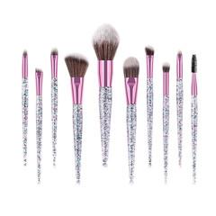MONDAY 10Pcs Eye Makeup Brush Set with Gliter Handle Luxury Clear Eyeshadow Brush Ket Beauty Tools 10pcs/set