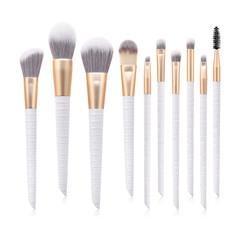 MONDAY 10Pcs Luxury Makeup Brush Set with Quality PU Storage Bag Soft Hair  Brush with Wooden Handle 10pcs/set white