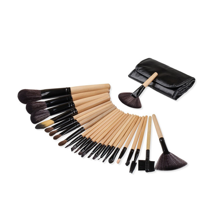 MONDAY 24Pcs Makeup Brushes Set Powder Foundation Blush Blending Eye Shadow Lip Cosmetic Brush 24pcs/set natural