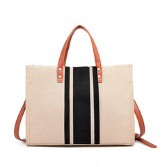 MONDAY Striped Canvas Handbag 2019 New Shoulder Bag Tote Women's Shopping Bag Large Crossbody Bag black 34*13*25cm
