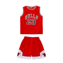 MONDAY 2Pcs Boys Jersey Sports Clothing Set Sleeveless Shirt and Short Pants Kids Wear Clothes red 90
