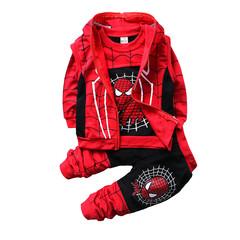 MONDAY 3 Pcs Boys Clothing Set Spiderman Boys Kids Leisure Long Sleeves Shirt Short Outwear &Pants black 80
