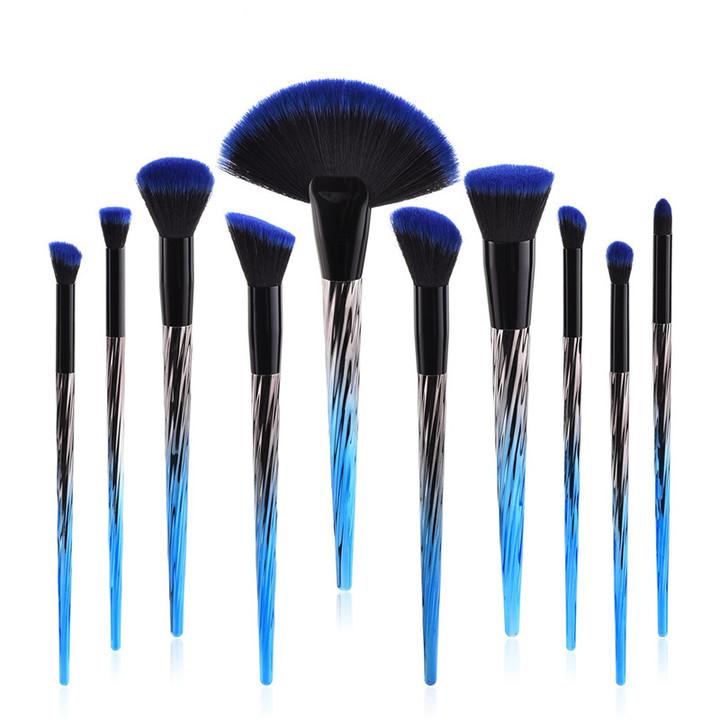 MONDAY 5/6/10Pcs Blue Black Makeup Brush Kit Eyeshadow Brush Fan Brush Ladies Makeup Tool Set 10pcs/set