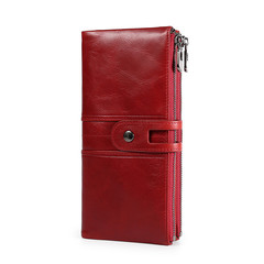MONDAY Soft Genuine Leather Long Wallet RFID Men and Women's Purse Quality Clutch Money Bag red 19*9*1.5cm