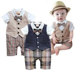 MONDAY Baby Boys Jumpsuit  Formal Dress with Bowknot False Two Pcs Shirt Set with Vest Plaid Pants khaki 70