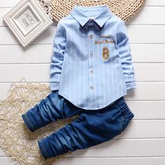 MONDAY 2Pcs Boys Clothes Set Kids Suit Long Sleeves Shirt Jeans Trousers Formal Dress blue 80