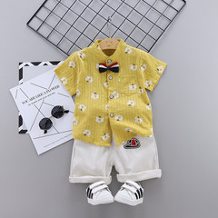 MONDAY 2Pcs Unisex Kids Clothes Set Short Sleeves Shirt and Short Pants Boys and Girls Summer Wear yellow 80