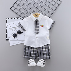 MONDAY 2Pcs Unisex Kids Clothes Set Short Sleeves Shirt and Short Pants Boys Girls Summer Dresses white 80