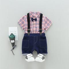 MONDAY 2Pcs Boys Girls Kids Clothes Set Short Sleeves Shirt and Short Pants Children Fashion Dress pink blue 80