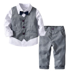 MONDAY Boys 3Pcs Birthday Party Dress Clothes Set Vest White Shirt with Bowknot and Suit Pants grey 90