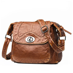 MONDAY Retro Shoulder Bag for Women Ladies Purse Handbag Soft PU Leather Bag with Adjustable Strap brown 25*23*15cm
