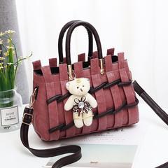 MONDAY Women's Bag Fashion Handbag Sweet Ladies Shoulder Bag Knit Pattern Leather Bag pink 26*12*17cm