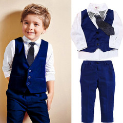 MONDAY Boys Gentleman Clothing Set Wedding Birthday Party Kids Formal Dress Vest Shirt Suit Pants Navy blue 2T
