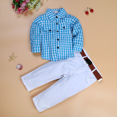 MONDAY Boys Clothes Set Plaid Shirt Long Sleeves White Long Trousers with Belt Kids Party Suits blue 2T