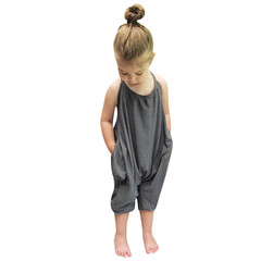 MONDAY Baby Girls Clothes Jumpsuit Sun Top Baby Suit Girls Fashion Casual Wear Kids Summer Clothing grey 3T