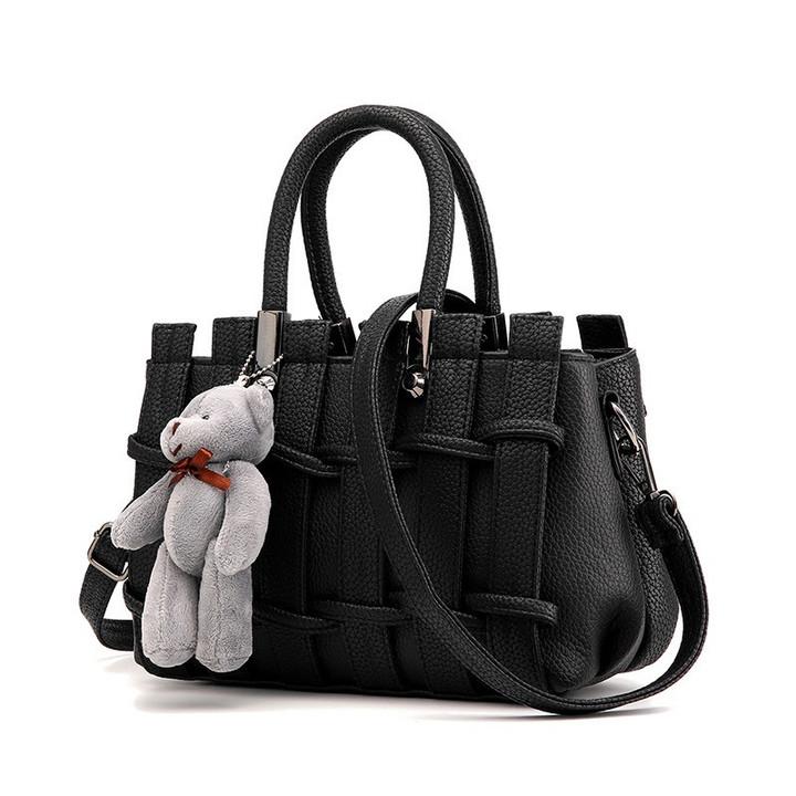 MONDAY Women's Handbag Fashion Shoulder Bag Matte PU Leather Bag with Bear Pendant Ladies Purse black 25*11*19cm