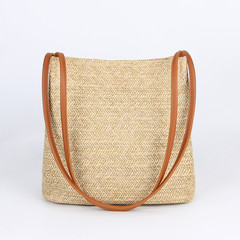 MONDAY Fashion Straw Bag Large Capacity Handbag Handmade Woven Bag Ladies Beach Bags brown 27*14*27cm