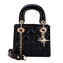 MONDAY Varnish PU Leather Bag Women's Mini Handbag Shoulder Bag Ladies Messenger  Crossbody Bag black 16.5*14*9cm