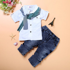 MONDAY 3Pcs Boys Clothes Short Sleeves Shirt Scarf and a Pairs of Long Jeans for Kid Cool Dress white 2T cotton+jeans