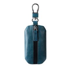 MONDAY Men's Car Key Case Bag Genuine Leather Keys Holder Zipper Pouch Car Key Cover Bag blue