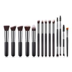 MONDAY 10Pcs Face Makeup Brush Set Professional Dressers Makeup Tools Doule-head Eyelash Brush 10pcs/set black