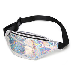 MONDAY Glitter PU Women's Waist Bag Lady Chest Bag Fashion Cool Girls Shoulder Bag silver