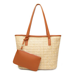 MONDAY Large Straw Tote Bag Women's Shopping Shoulder Bag Handbag Ladies Purse brown 27*16*33cm