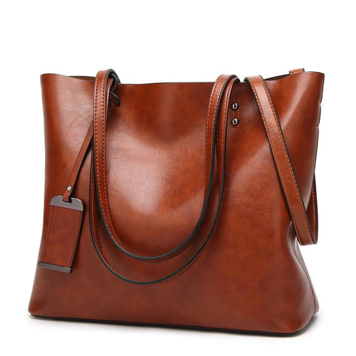 MONDAY Women's Tote Bag Large Capacity Handbag Ladies Retro Shoulder Bag brown 32*29*12cm