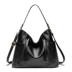 MONDAY Quality PU Leather Tote Bag Ladies Shoulder Bag Western Style Large Handbag Soft Leather Bag black 39*14*29cm