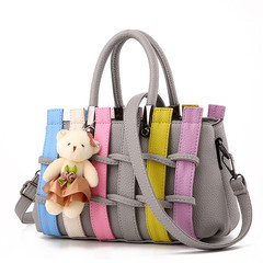 MONDAY Woman Shoulder Bag Fashion PU Leather Weave Handbags Ladies Knitting Bag Colorful Totes grey 27*17*12cm
