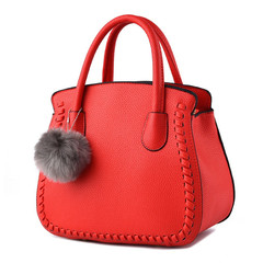 MONDAY Women Bag PU Leather Tote Bag Ladies Handbag Solid 2019 New Women's Bag red 27*16*23cm