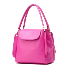 MONDAY PU Leather Women's Handbag Simple Solid Tote Top Handle Hand Bag for Ladies rose red 29*17*24cm
