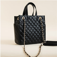 MONDAY Women's Tote Bag Diamond Lattice Shoulder Bag Quality PU Leather Handbag Ladies Purse black 26*25*11cm