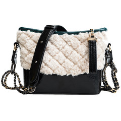 MONDAY Fur Handbag Dismond Lattice Shoulder Bag for Women Ladies Chain Bag PU Leather Crossbody Bag green and white 23*17*9cm