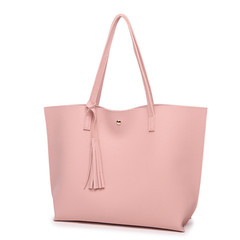 MONDAY Women Bags Large Shopping Bag Ladies Handbag Soft PU Leather Tote Bag for Girls pink 36*11*30cm