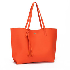 MONDAY Women Bags Large Shopping Bag Ladies Handbag Soft PU Leather Tote Bag for Girls orange 36*11*30cm