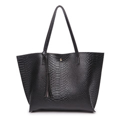 MONDAY Handbag Women Bags Large PU Leather Bags for Ladies Tote Bag Soft Shopping Bag black 36*11*30cm