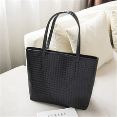 MONDAY Handbag Women's Bags Large Shopping Bag Knit Pattern Tote Bag for Ladies black 32*13*30cm
