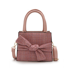 MONDAY Sweet Handbag Women's Bag with Bowknot Small Crossbody Bag Fashion Plaid Handbag pink 20*16*8cm